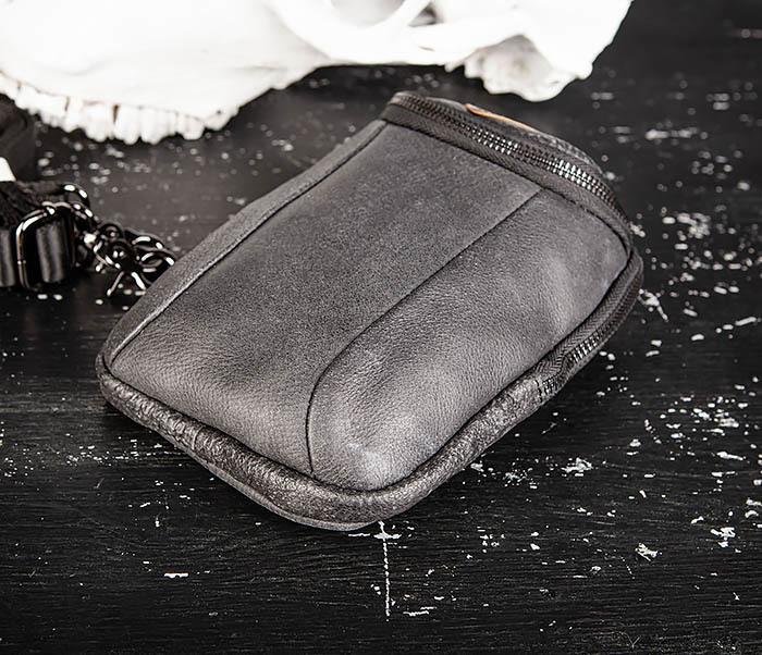 BAG517-1 Кожаная сумка на пояс с ремнем и карабином фото 07