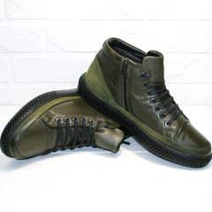 Модные зимние ботинки мужские кожаные Luciano Bellini BC2803 TL Khaki.