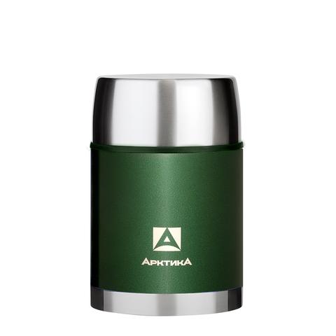 Термос для еды Арктика (0,8 литра) с супер-широким горлом в чехле, зеленый