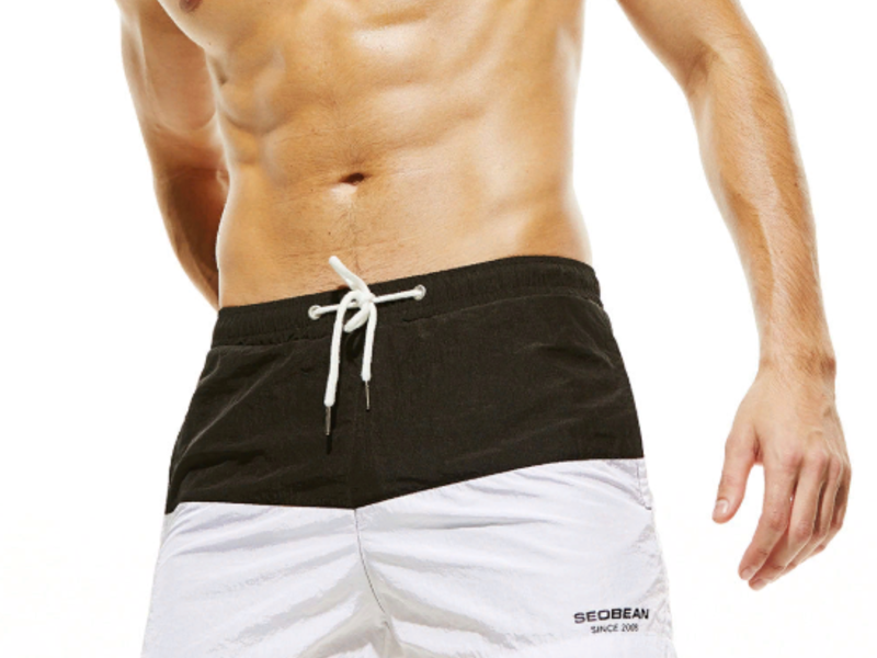 Мужские пляжные шорты черно-белые SEOBEAN 34780
