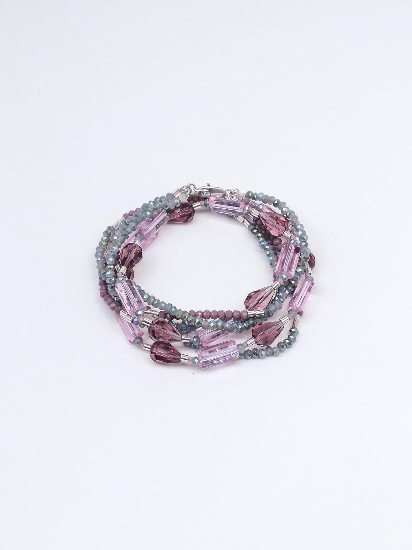 Браслет многослойный из розового  хрусталя с серебром  оптом и в розницу