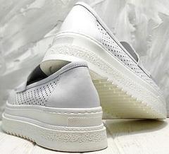 Белые туфли кроссовки кожаные женские Derem 372-17 All White.