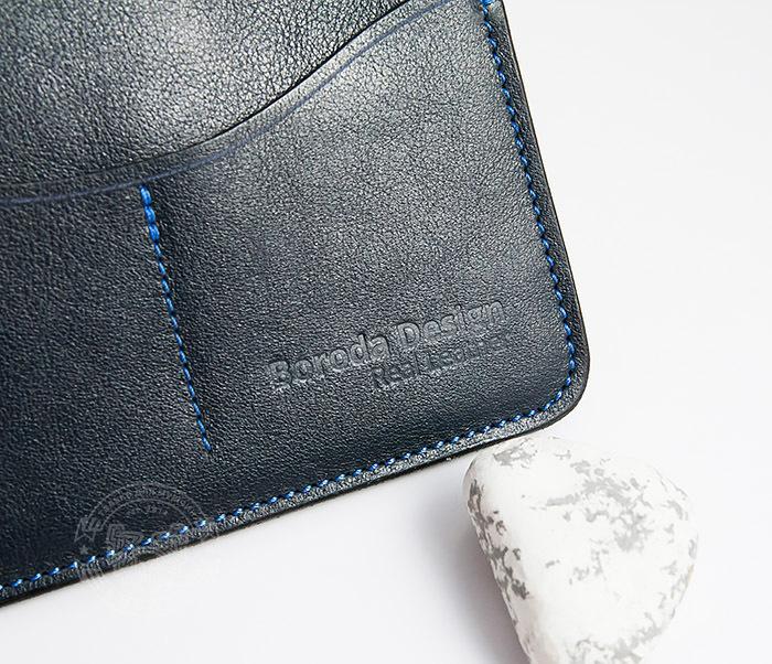 BC122-3 Кожаная обложка синего цвета для документов и карт ручной работы, «Boroda Design» фото 05