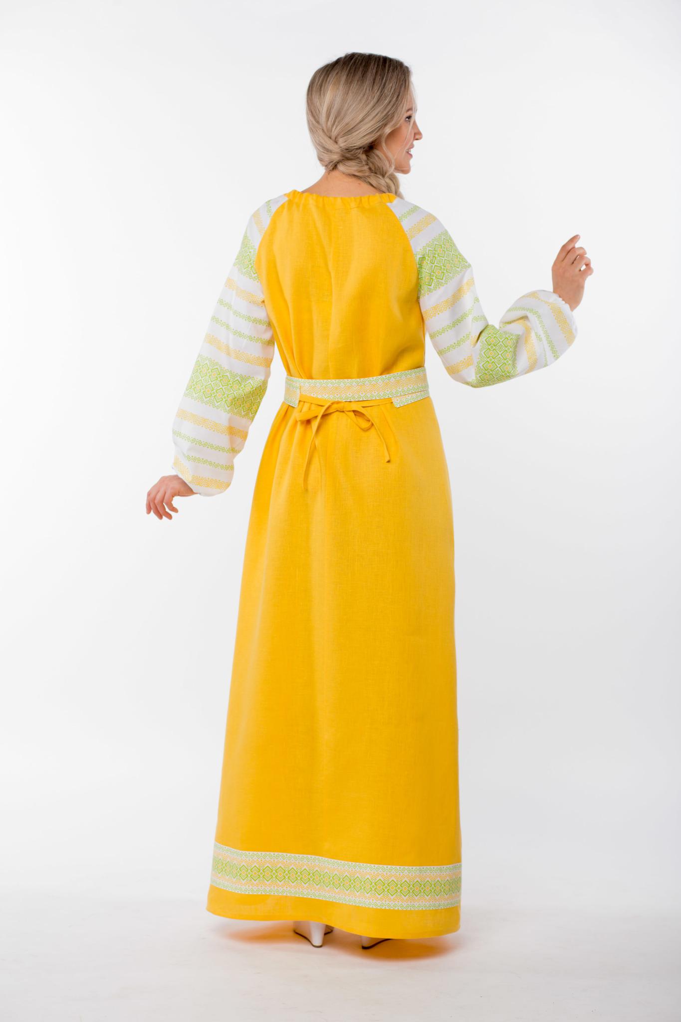 Платье льняное Ясно солнышко вид сзади