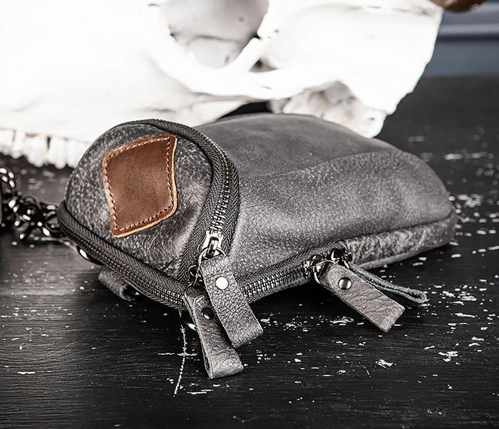 BAG517-1 Кожаная сумка на пояс с ремнем и карабином фото 08