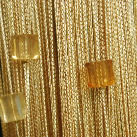 Нитяные шторы с бусинами (кубики) - Бежевые. Ш-300см., В-280см. Арт.14