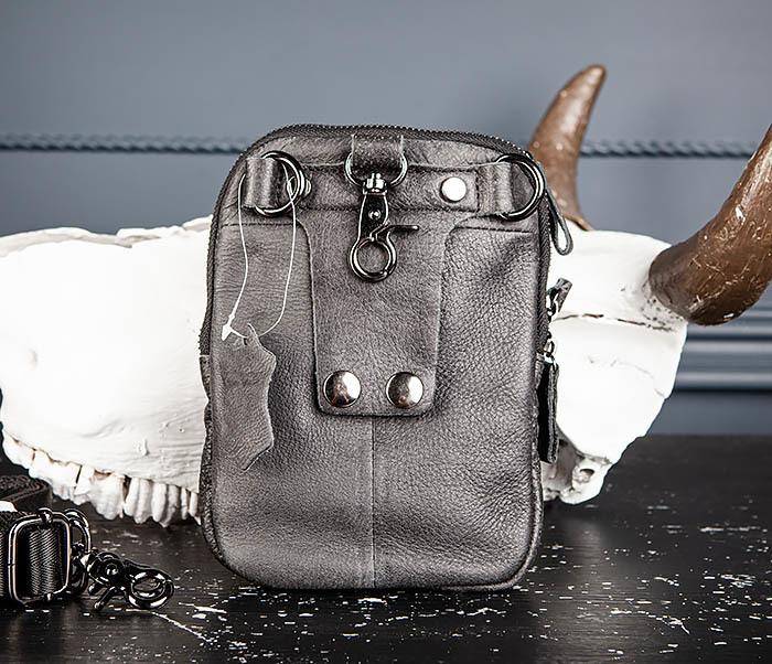 BAG517-1 Кожаная сумка на пояс с ремнем и карабином фото 09