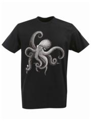 Футболка с принтом Море, Океан, Осьминог (Sea, ocean, octopus) черная 002