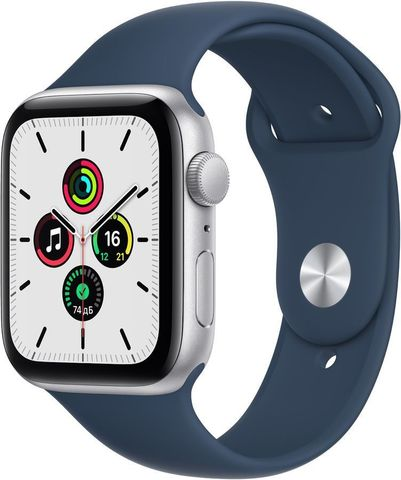 Часы Apple Watch SE GPS 44mm Aluminum Case with Sport Band Серебристый / синий 2021 (MKQ43)