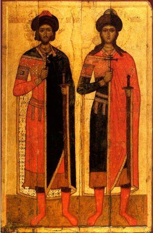 Икона святые Борис и Глеб 14 века на дереве на левкасе мастерская Иконный Дом