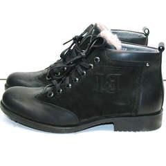 Модные мужские ботинки из натуральной кожи зимние Luciano Bellini 6057-58K Black Leathers & Nubuk.