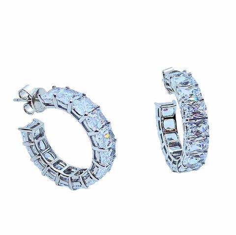 89069 - Серьги-конго из серебра с багетными цирконами