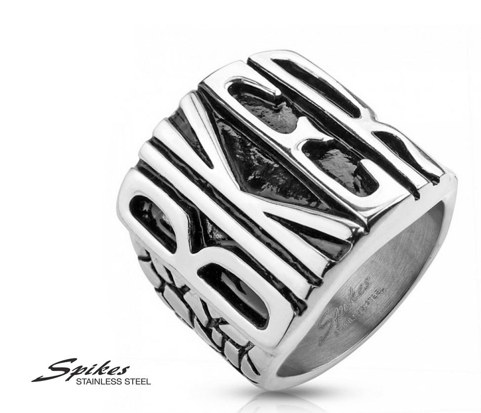 R-S1004 Массивный мужской перстень «Biker» фирмы «Spikes» из ювелирной стали