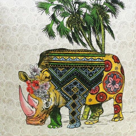 Детская портьерная хлопковая ткань Носорог
