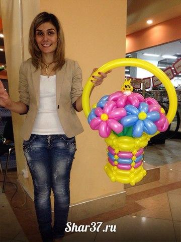 Корзинка из шариков на Shar37.ru