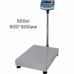 Купить Весы товарные напольные SCALE СКЕ-500-6080, LED, АКБ, RS232, 500кг, 100/200гр, 800*600, с поверкой, съемная стойка. Быстрая доставка