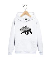 Толстовка белая с капюшоном (худи, кенгуру) 006 и принтом Медведь, Медвежонок (Bear)