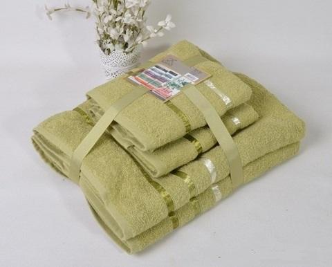 Комплект махровых полотенец КАРНА, зеленый
