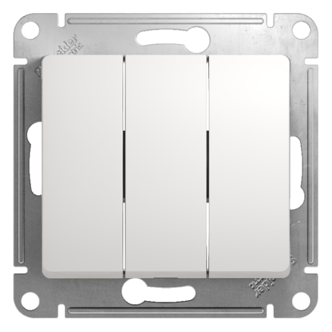 Выключатель трехклавишный, 10АХ. Цвет Белый. Schneider Electric Glossa. GSL000131