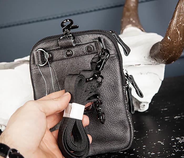 BAG517-1 Кожаная сумка на пояс с ремнем и карабином фото 12
