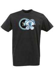 Футболка с принтом Знаки Зодиака, Близнецы (Гороскоп, horoscope) черная 004