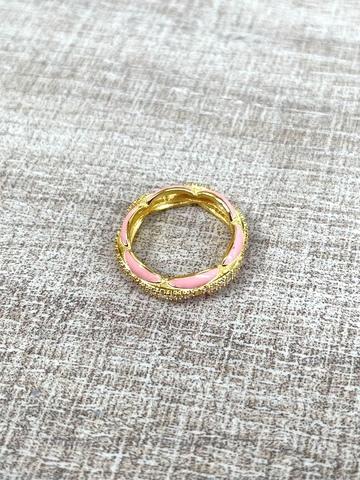 Кольцо Ширитам розовое, позолота