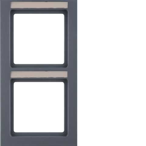 Рамка на 2 поста с полем для надписей вертикальная. Цвет Антрацит. Berker (Беркер). Q.3. 10526086