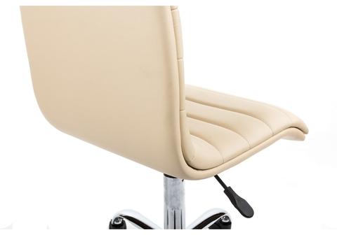 Офисное кресло для персонала и руководителя Компьютерный стул Midl бежевый 40*40*90 Хромированный металл /Бежевый кожзам