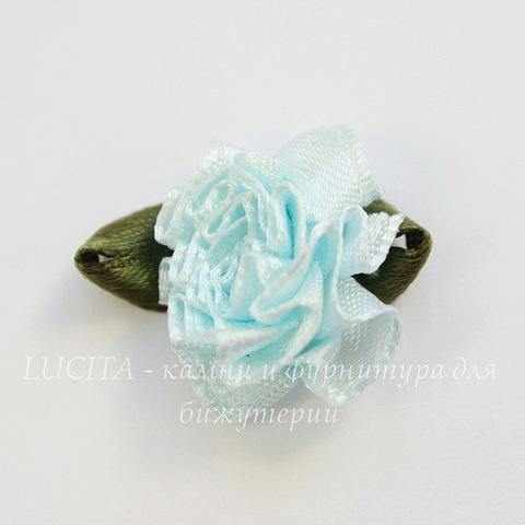 Цветочек с листиком голубой 28 мм