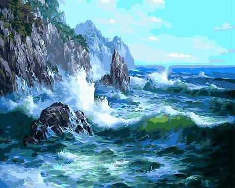 Картина раскраска по номерам 50x65 Волны у скал