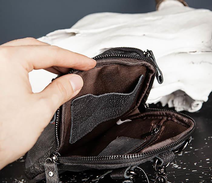 BAG517-1 Кожаная сумка на пояс с ремнем и карабином фото 14