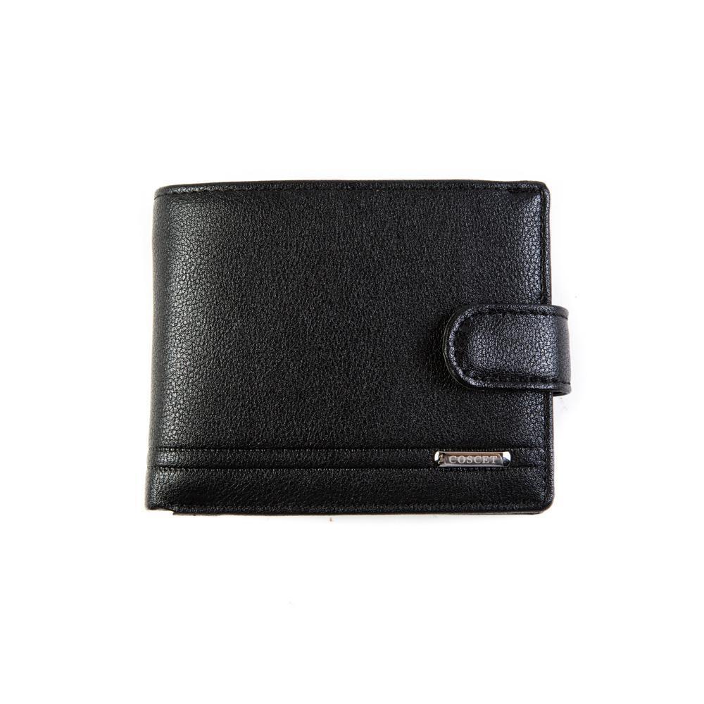 Стильный небольшой недорогой чёрный кошелёк из искусственной кожи со скобой (зажимом) для денег 11х9 см с карманом для мелочи Coscet B171-16A в коробке