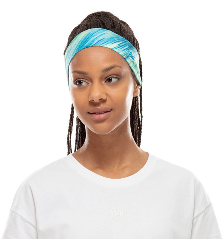 Узкая спортивная повязка на голову Buff Headband Slim CoolNet Pixeline Lime фото 2