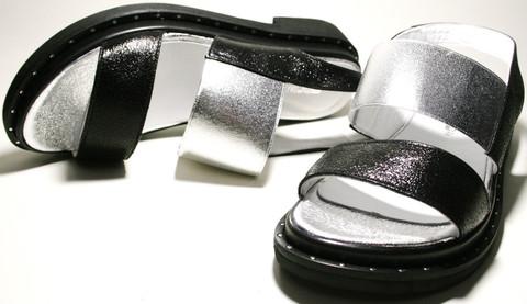 Черные кожаные босоножки на толстой подошве. Женские сандали босоножки на низком ходу Marani Magli - Black.