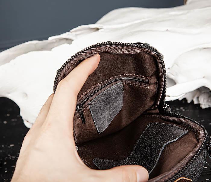 BAG517-1 Кожаная сумка на пояс с ремнем и карабином фото 15
