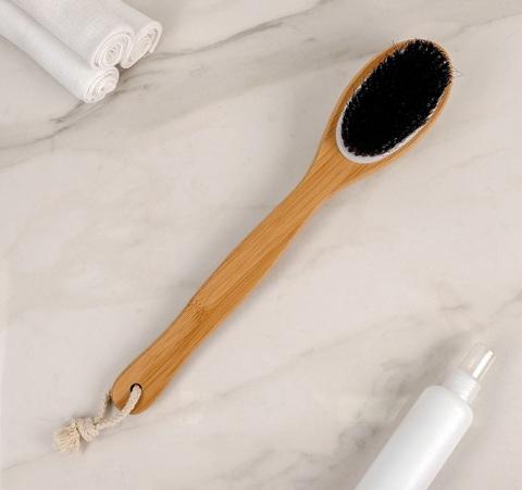Щётка банная с ручкой и массажёром, 40 см х 8 см х 5 см, натуральная щетина