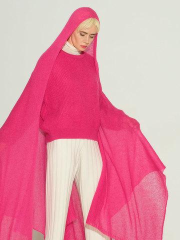 Женский шарф розового цвета из мохера и шерсти - фото 4