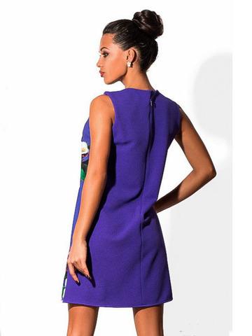 Короткое летнее платье трапеция с принтом, фиолетовое 1
