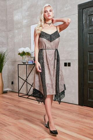 Фото изящное бежевое платье в бельевом стиле с кружевом - Платье З424-441 (1)