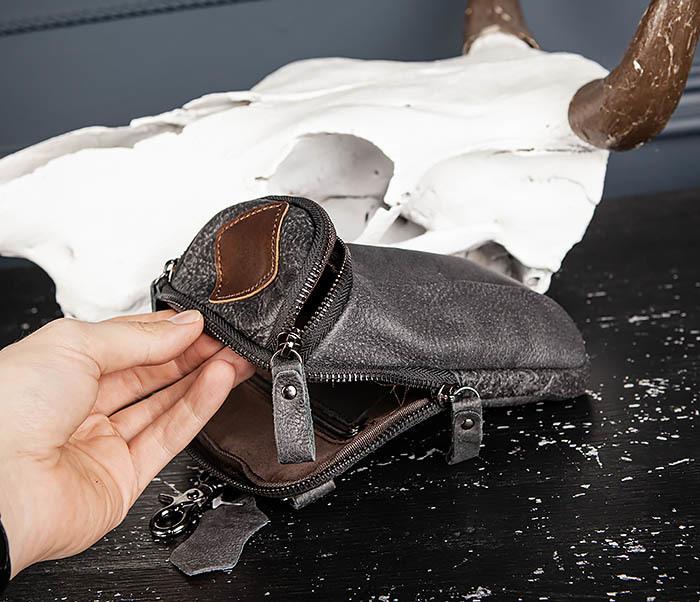 BAG517-1 Кожаная сумка на пояс с ремнем и карабином фото 16