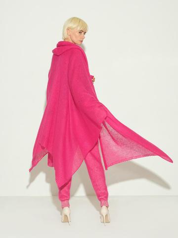 Женский шарф розового цвета из мохера и шерсти - фото 2