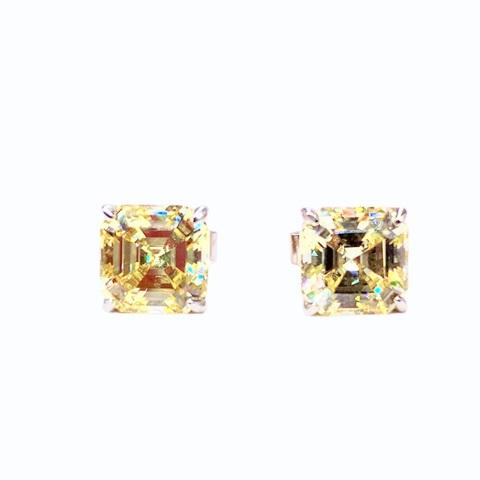 56471- Серьги-гвоздики из серебра с желтыми цирконами огранки ашер (8мм)