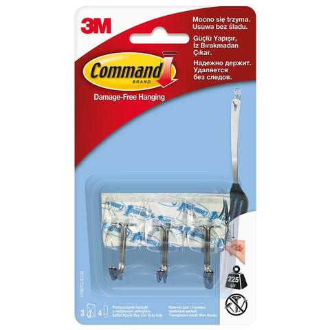 Крючки для столовых приборов Command прозрачные нагрузка до 225 г (3 штуки + 4 клейких полоски)