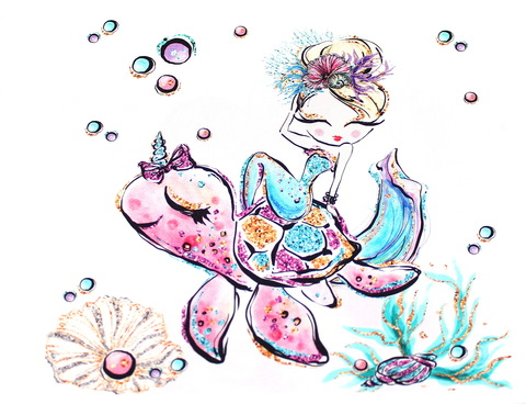 Панель(купон) девочка,черепаха,подводный мир-75*100 см