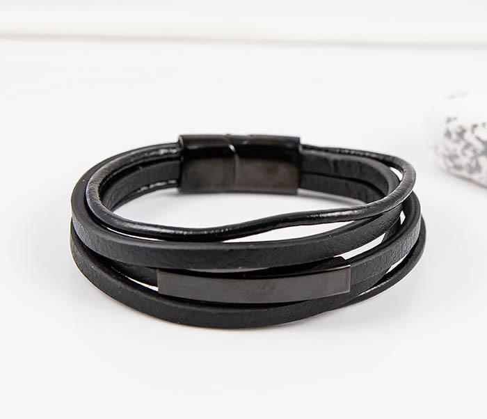 BM445-1B Мужской браслет из шнуров и полос кожи