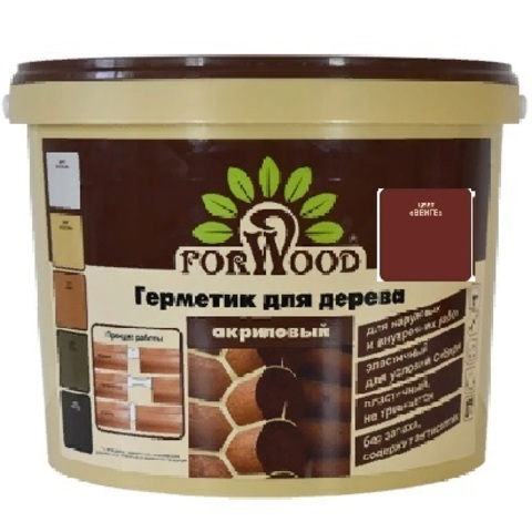 Forwood герметик для дерева и бетона акриловый для наружных и внутренних работ цвет венге 14кг вд-ак 1501
