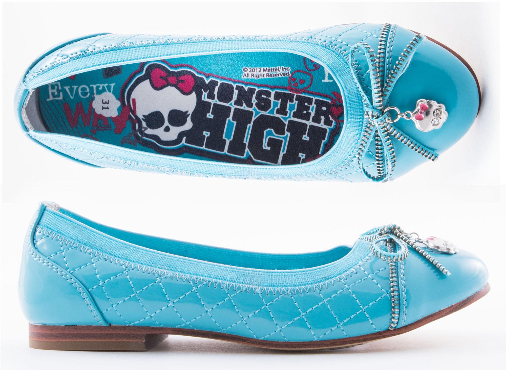 Балетки Монстер Хай (Monster High) лакированные для девочек, цвет голубой