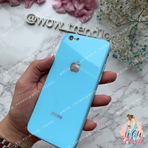 Чехол iPhone 6/6S Glass Full color Case Logo /blue/