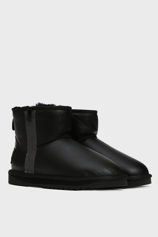 Мужские черные кожаные угги с мехом Landing Preppy