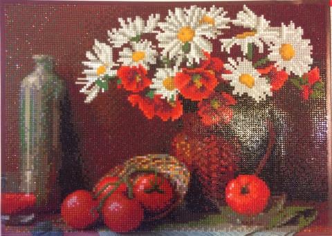 Алмазная Мозаика 40x50 Натюрморт с ромашками и помидорами (арт. GA70765)